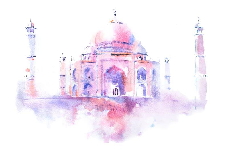 Waterverftekening van Taj Mahal in Agra, India vector illustratie