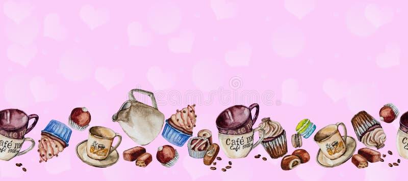 Waterverftekening voor koffie en snoepjes wordt geplaatst dat royalty-vrije stock afbeelding