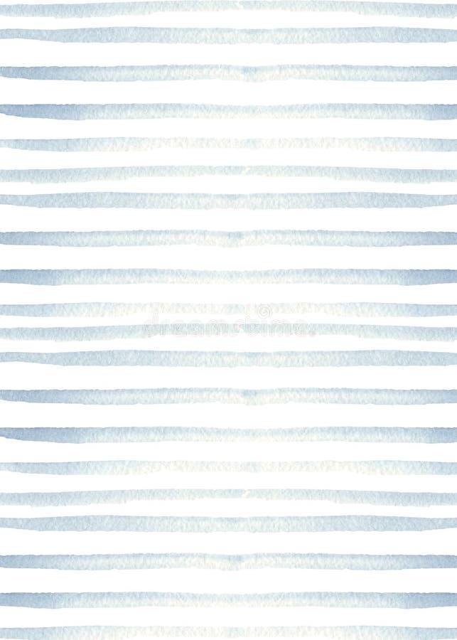 Waterverftextuur met blauwe strepen Marien ontwerp stock illustratie