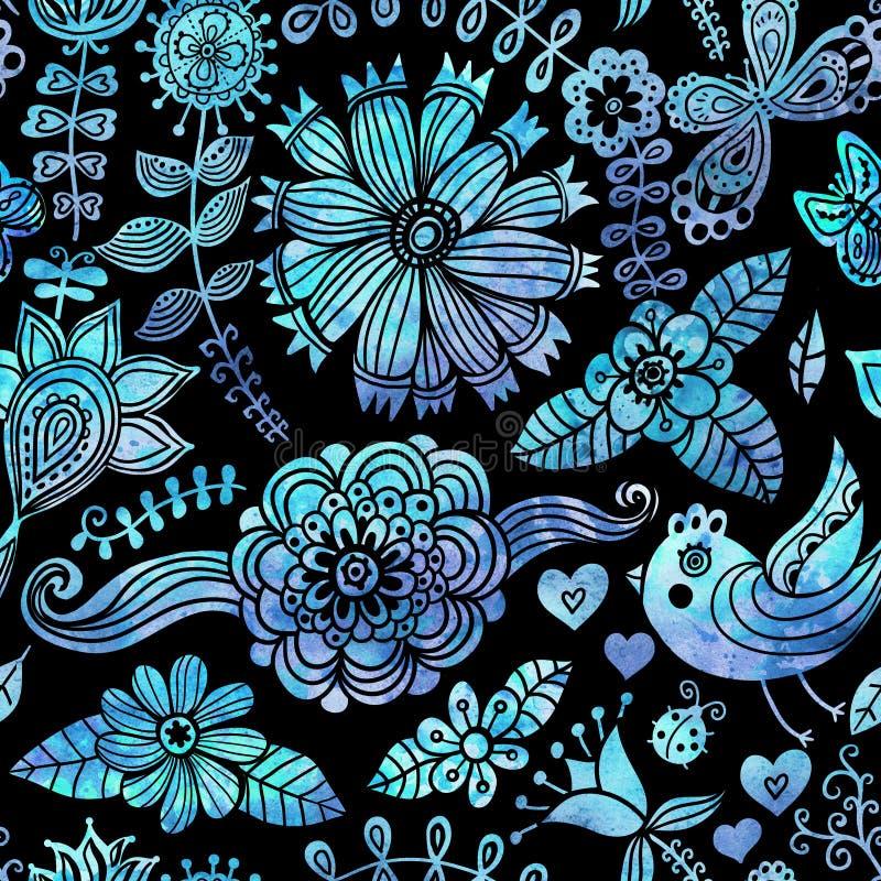 Waterverftextuur met bloemen en vogels. Bloemenpatroon. Oorsprong royalty-vrije illustratie