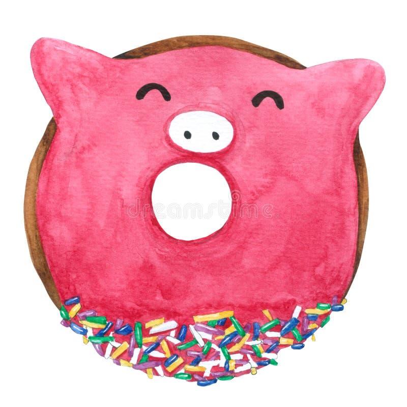 Waterverfvarken Donuts op witte achtergrond met knippen-weg voor decoratief en ontwerp, patroon, verpakking vector illustratie