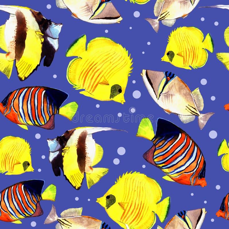 Waterverfvissen Overzeese vissenreeks vector illustratie