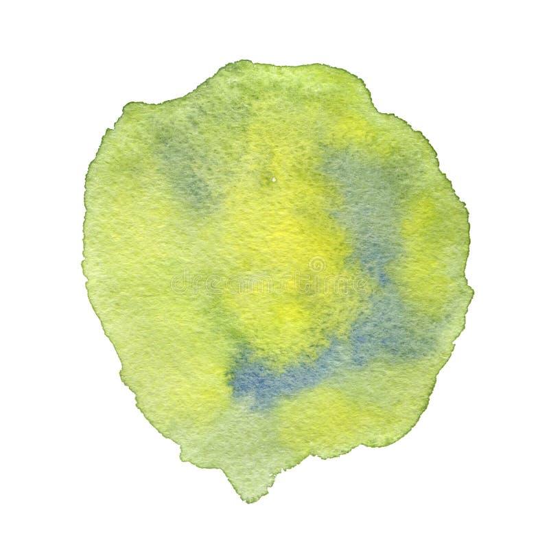 Waterverfvlek met groene en blauwe plonsen Getrokken hand stock illustratie
