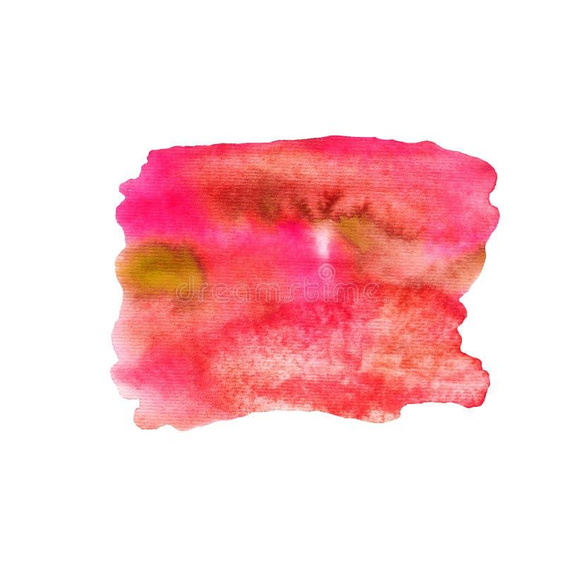 Waterverfvlek van roze en rode kleur stock illustratie