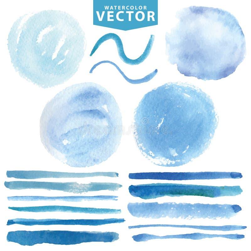Waterverfvlekken, borstels Blauwe oceaan, overzees, hemel stock illustratie