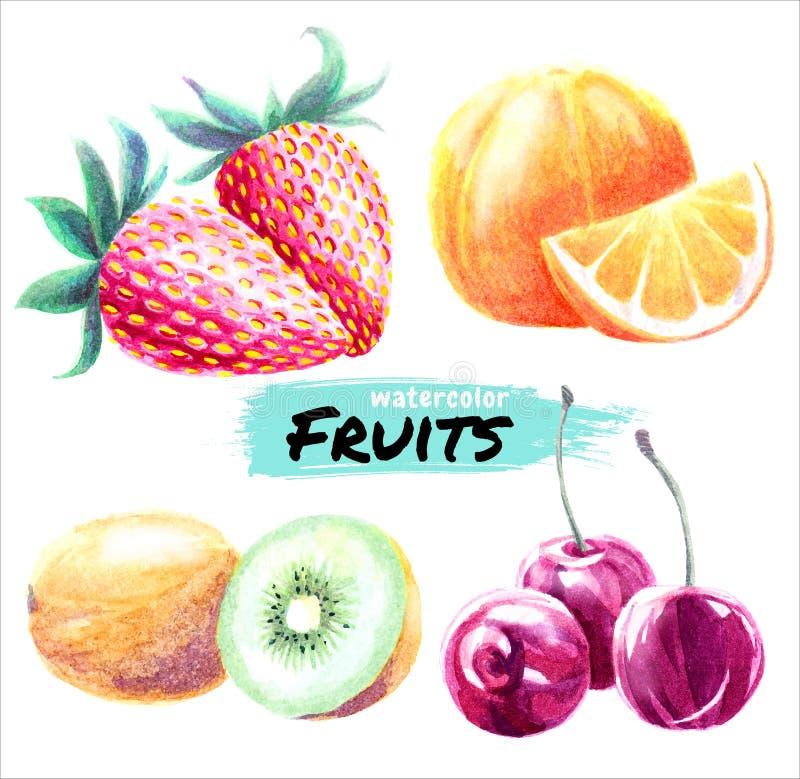 Waterverfvruchten Kers, Kiwi, Sinaasappel, Aardbei Reeks vector sappige rijpe vruchten vector illustratie