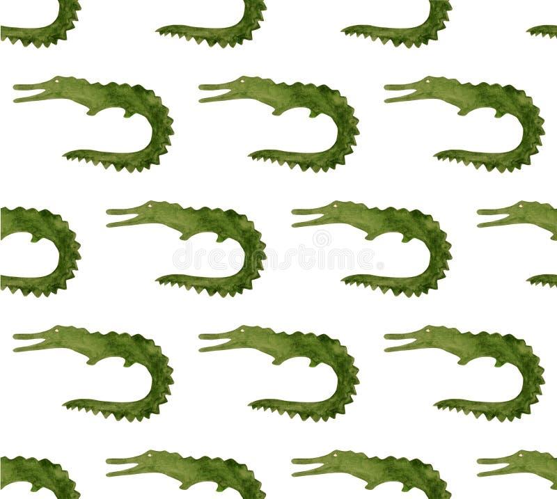 Waterverfwilde dieren van Afrika - krokodil Getrokken hand stock illustratie