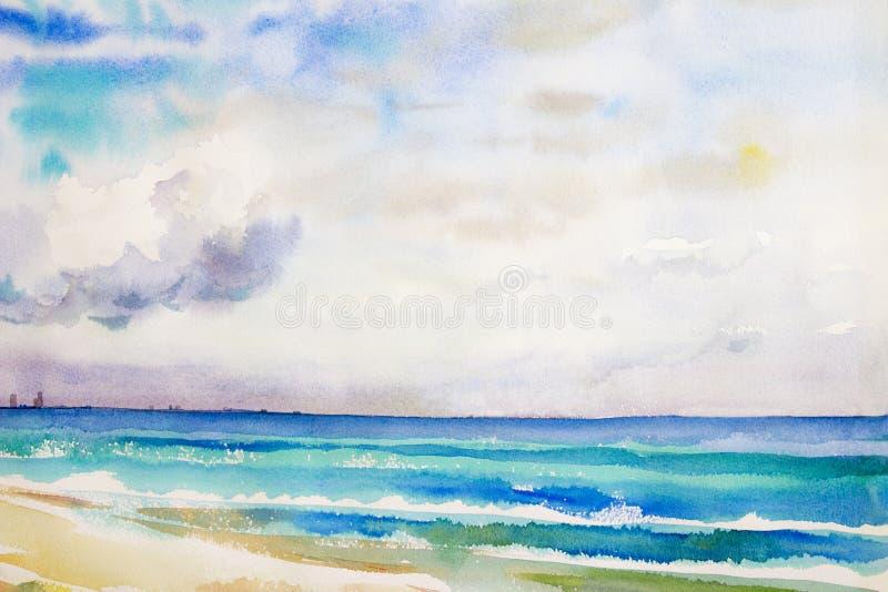 Waterverfzeegezicht het originele schilderen kleurrijk van overzeese mening, strand vector illustratie