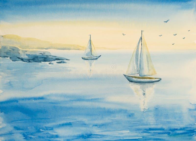 Waterverfzeegezicht met boten royalty-vrije illustratie