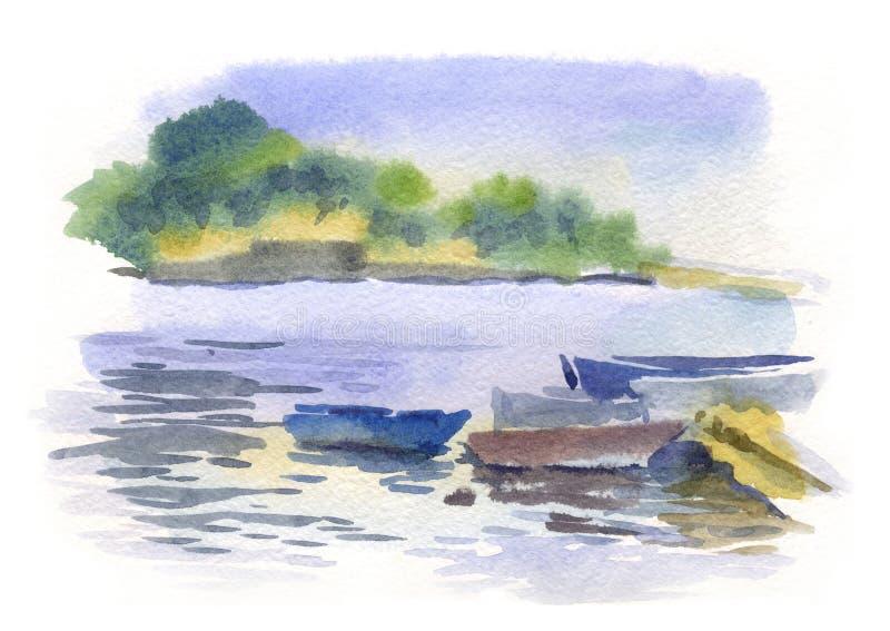 Waterverfzeegezicht met boten stock illustratie