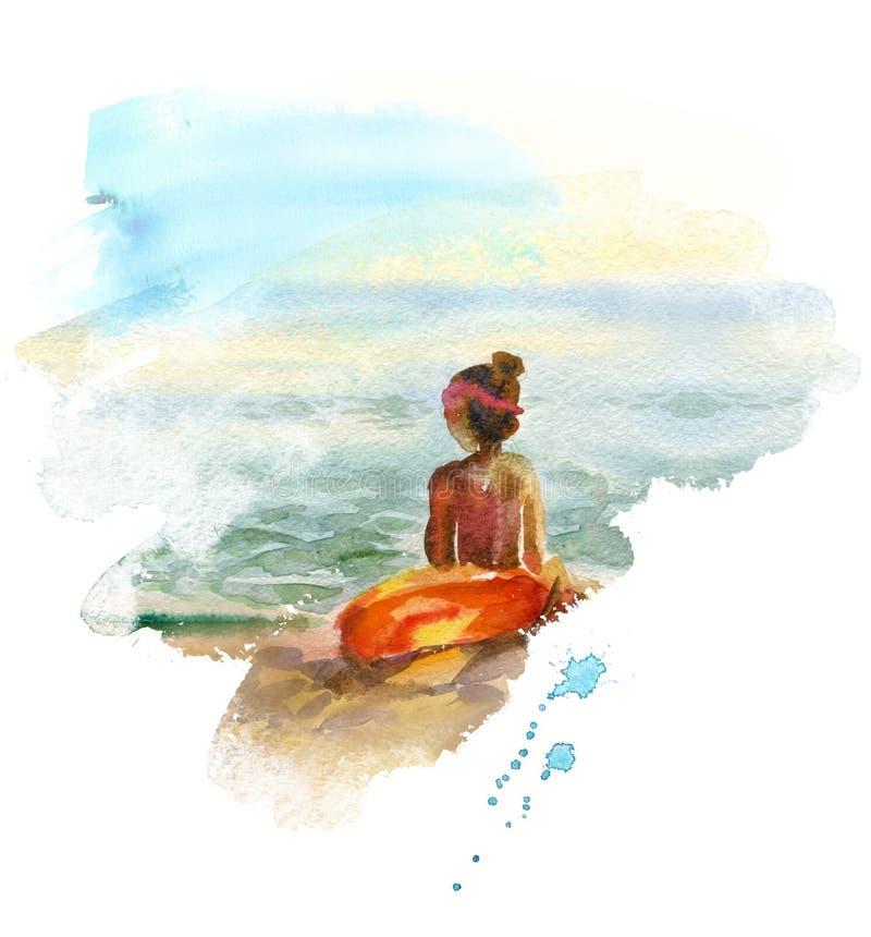 Waterverfzeegezicht met meisje stock illustratie