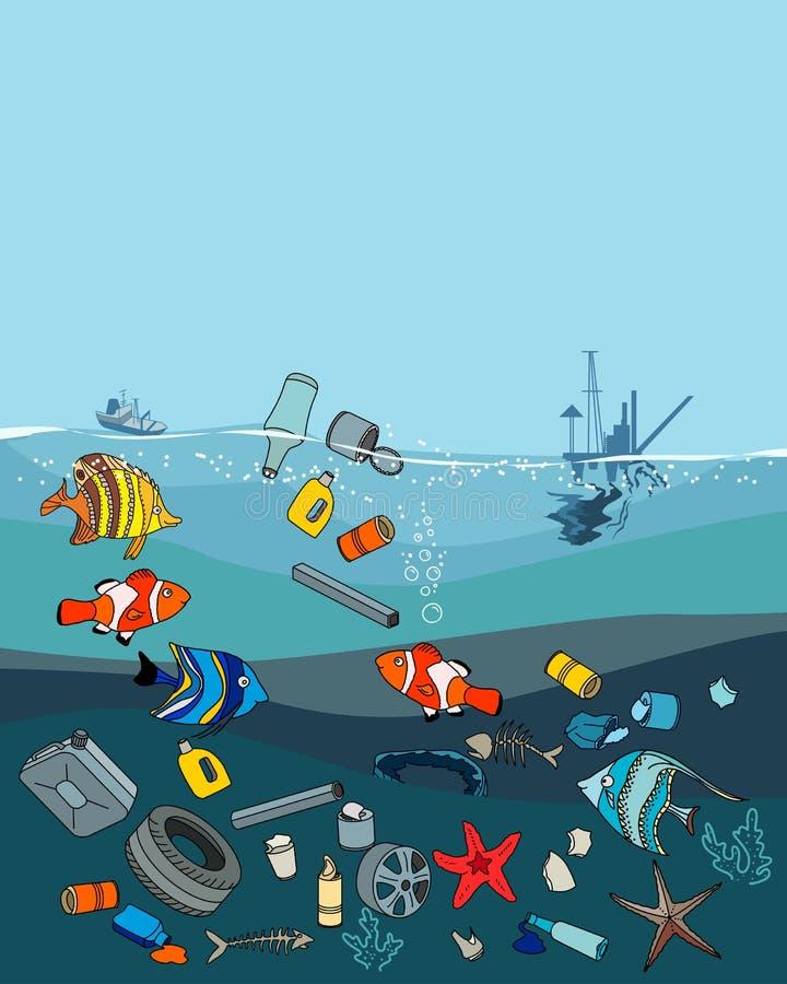 Watervervuiling in de oceaan Huisvuil en afval stock illustratie