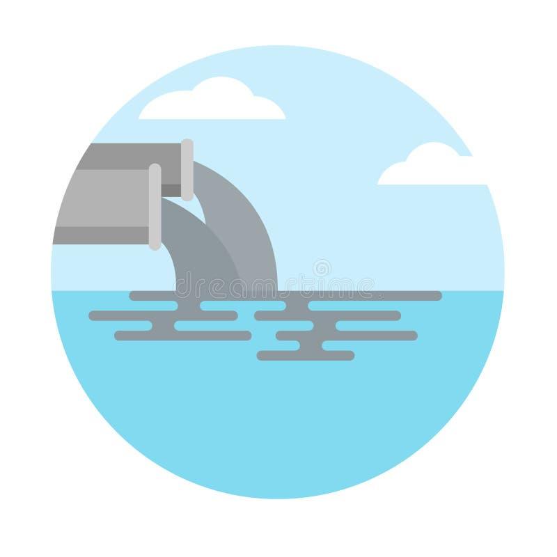 Watervervuiling van de industrie vuil afvalwater in het overzees royalty-vrije illustratie