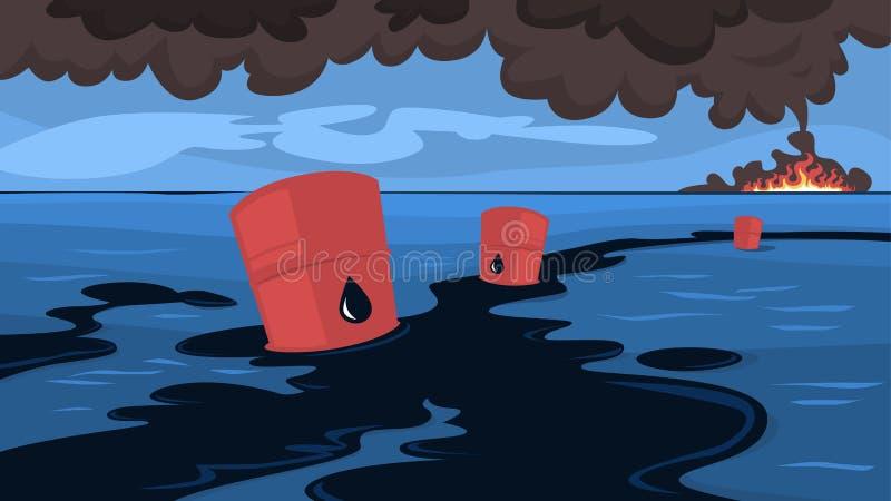 Watervervuilingconcept Oliemorserijen in het overzees of de oceaan stock illustratie