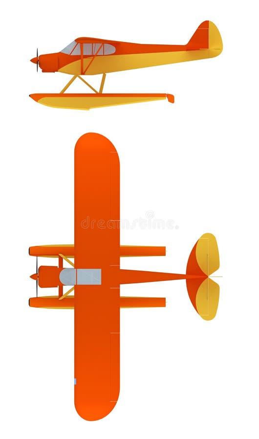 Watervliegtuig bij het witte 3d teruggeven wordt geïsoleerd die stock illustratie