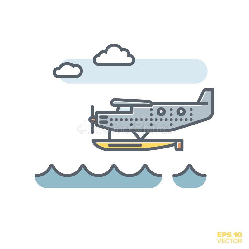 Watervliegtuig die over water vectorillustratie vliegen stock illustratie
