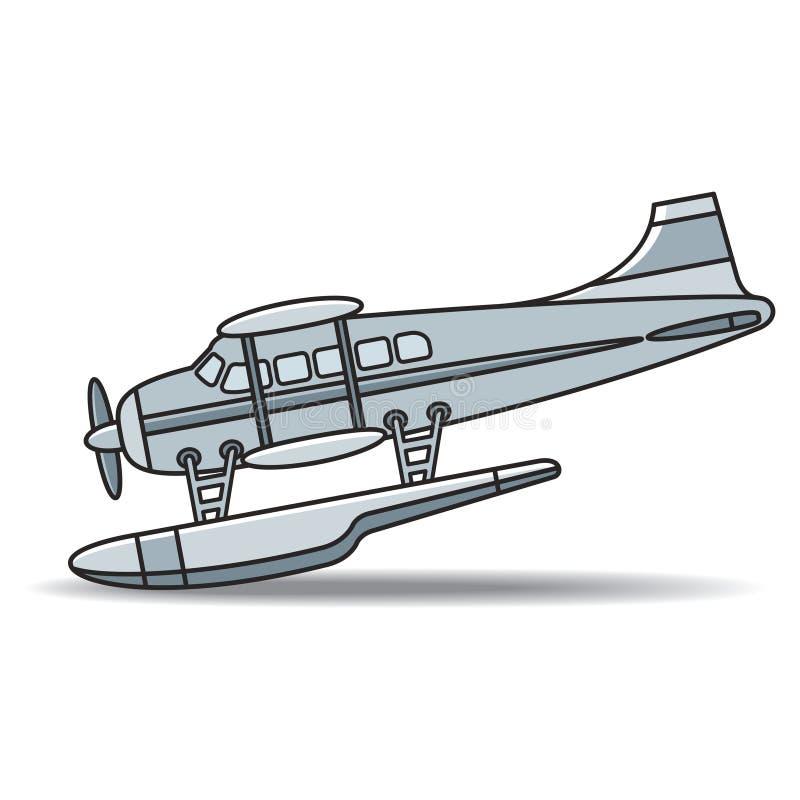 Watervliegtuig met propeller die vectorillustratie landen vector illustratie