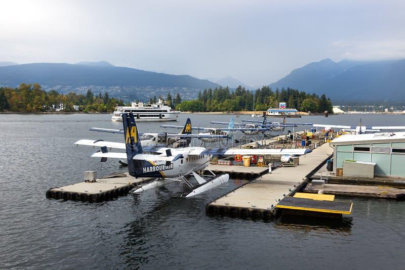 Watervliegtuigen dhc-6 de TweelingdieOtter van DeHavilland in Vancouver wordt vastgelegd stock afbeelding