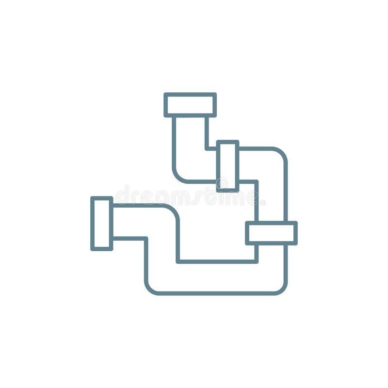 Watervoorzienings communicatie lineair pictogramconcept Het vectorteken van de watervoorzieningscommunicatielijn, symbool, illust royalty-vrije illustratie