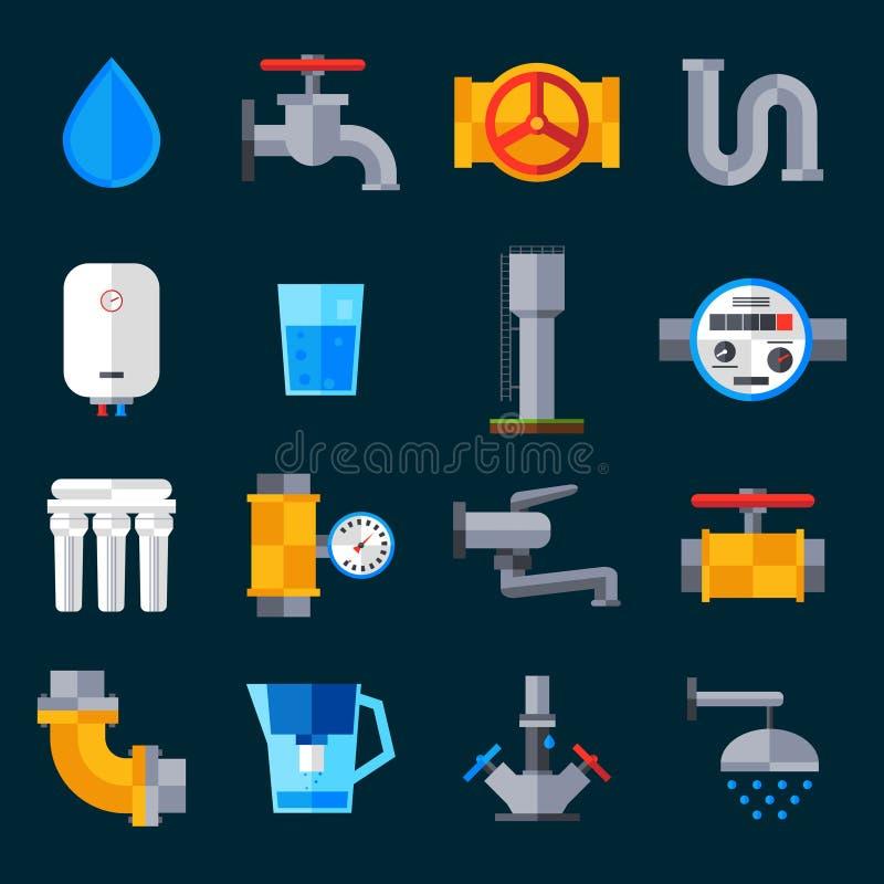 Watervoorzieningspictogrammen royalty-vrije illustratie