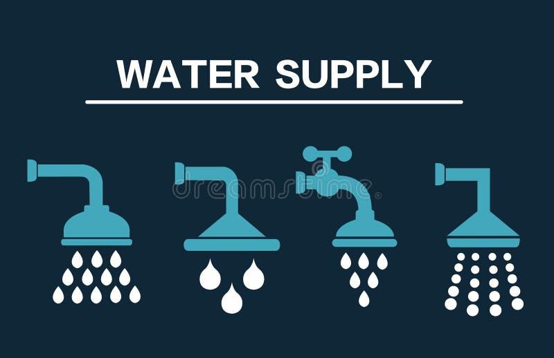 Watervoorzieningsreeks pictogrammen Douchepictogrammen Vector illustratie vector illustratie
