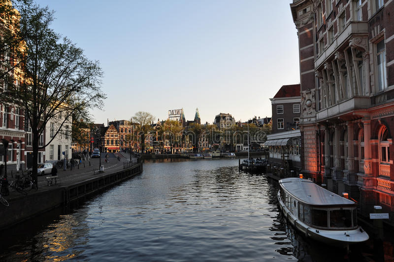 Waterway in Amsterdam. Waterway view in the city of Amsterdam (the Netherlands stock photography