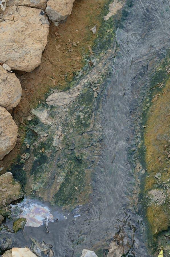 Waterway. Black sewage waterway in environment stock images