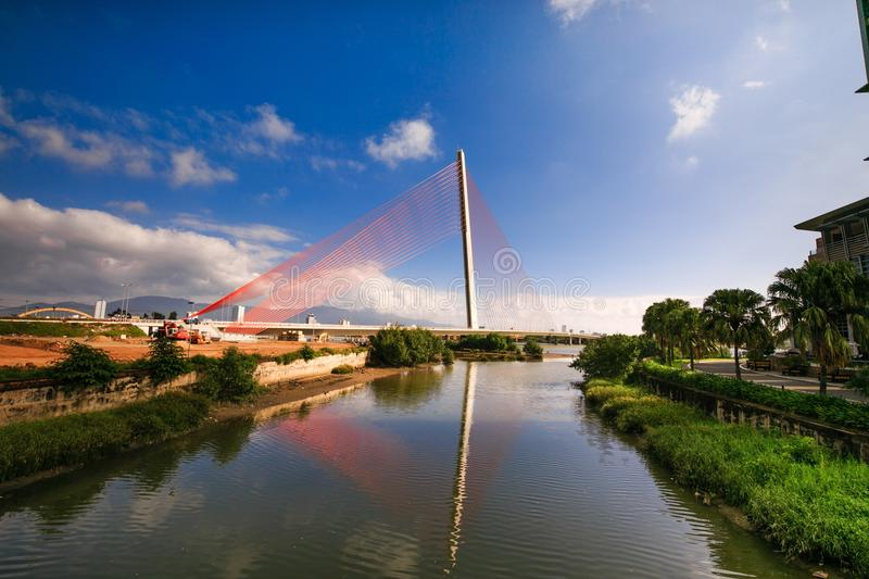 Waterway, Bridge, Reflection, Sky royalty free stock image