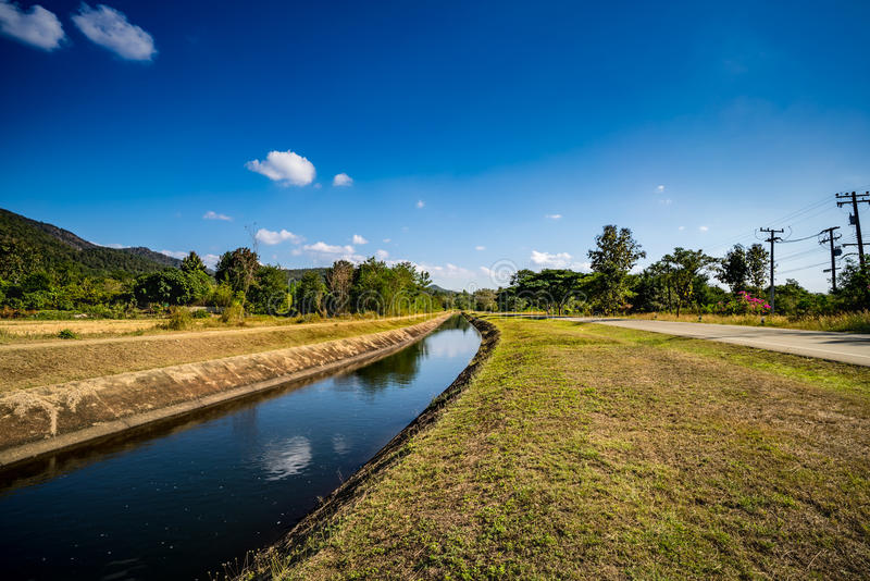 Waterway canal with blue sky. Waterway canal for agriculture with blue sky royalty free stock photo