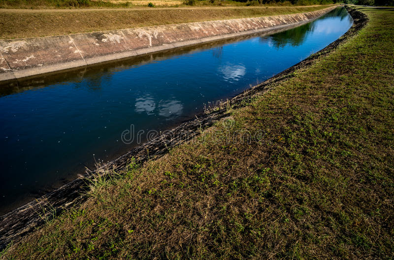 Waterway canal with blue sky. Waterway canal for agriculture with blue sky royalty free stock image