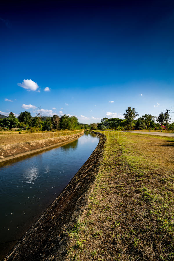 Waterway canal with blue sky. Waterway canal for agriculture with blue sky stock image
