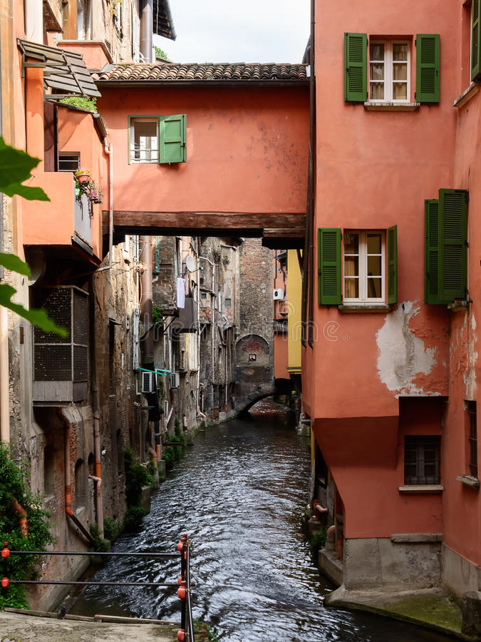 Waterway in the center of Bologna Italy. The Waterway in the center of Bologna Italy royalty free stock image