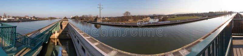 Waterway crossing minden germany high definition panorama. The waterway crossing minden germany high definition panorama royalty free stock photos