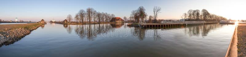 Waterway crossing minden germany high definition panorama. A waterway crossing minden germany high definition panorama royalty free stock photos