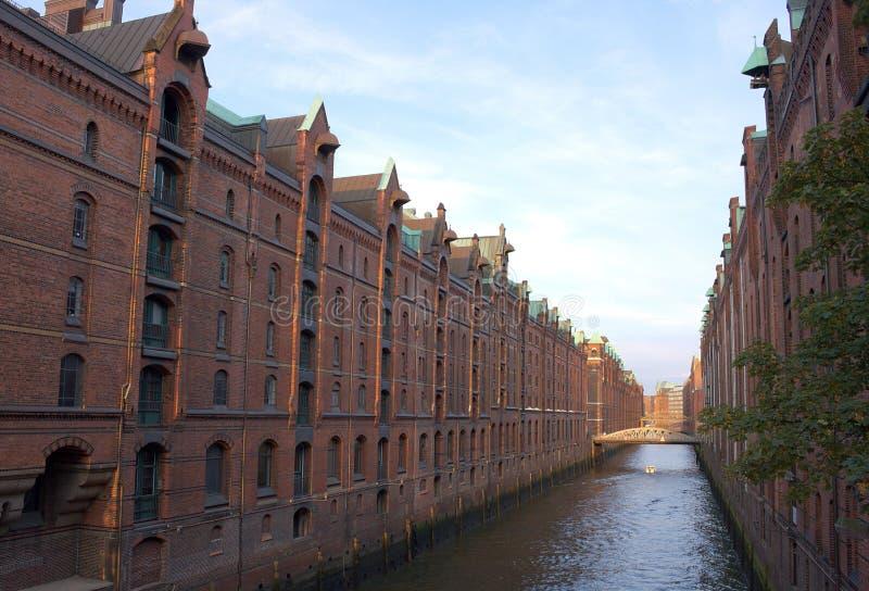Waterway of Hamburgs Speicherstadt-Germany. Popular waterway view of the so called northern venice, the Speicherstadt of Hamburg in Germany royalty free stock image