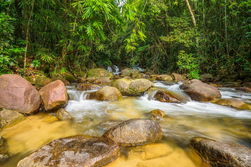 Waterway in national park. Flowing from waterfalls royalty free stock photos
