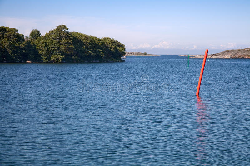 Waterway. Never-ending path and waterway trough the islands stock photo