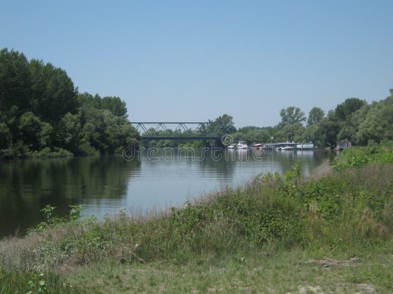 Waterway, River, Bridge, Bank stock photo