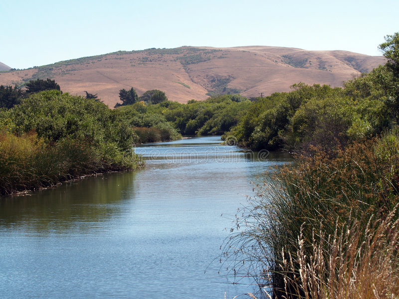 Download Waterway slough with hills stock image. Image of course - 6031769