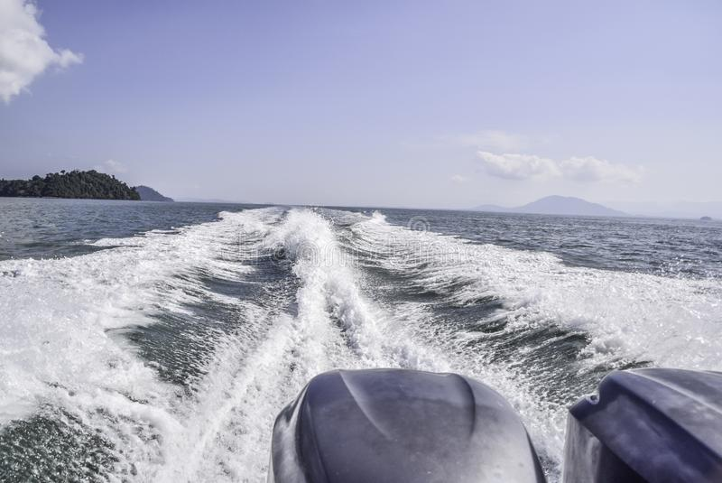 Waterway after speedboat passing by royalty free stock photos