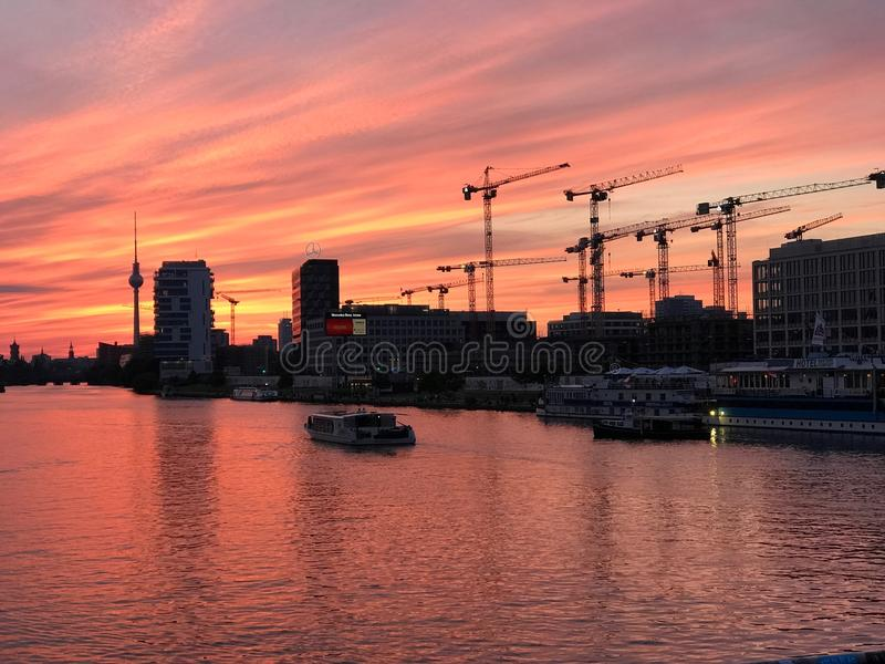 Waterway, Sunset, Sky, Reflection royalty free stock image