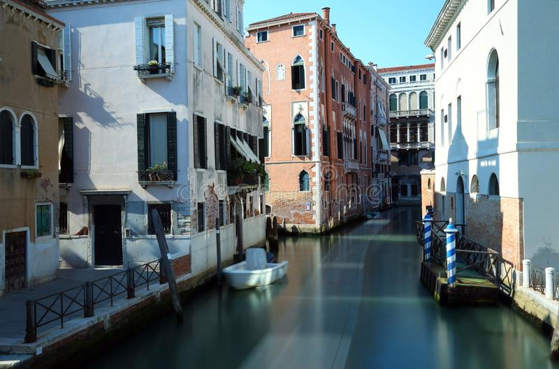 Waterway in Venice with the technique of long exposure stock photo