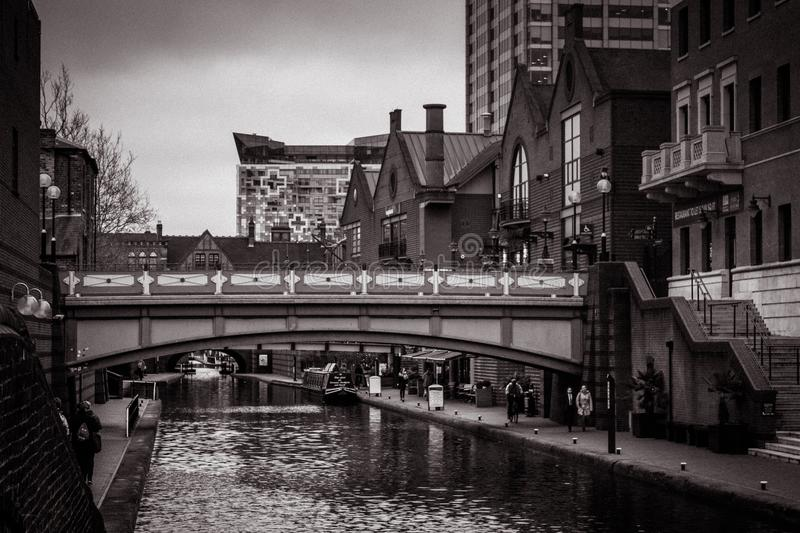 Waterway, Water, Black And White, Reflection stock images