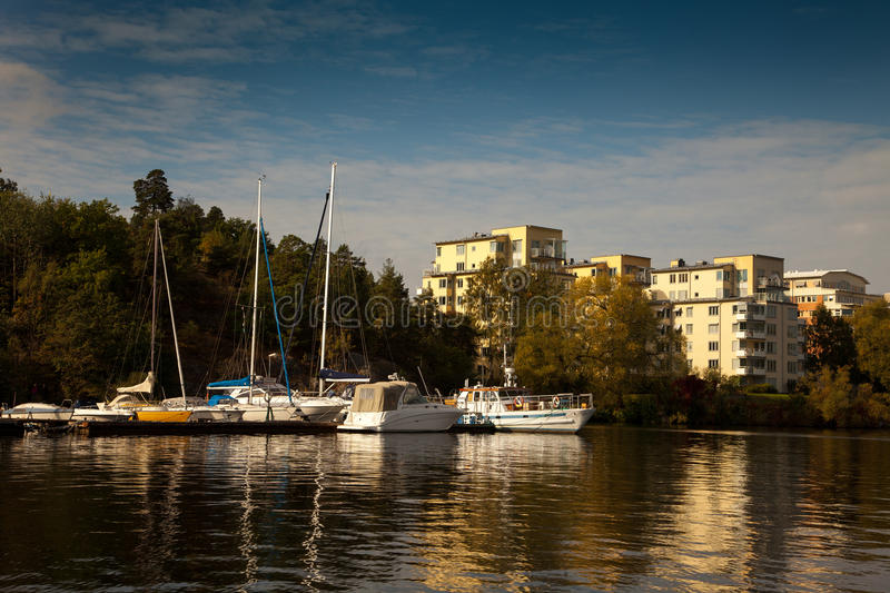 Waterways, boats and beautiful old buildings in Stockholm, Sweden.  stock photography