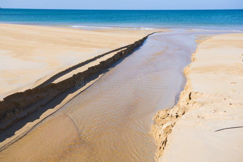 Waterweg die door het zand op strand vloeien stock fotografie