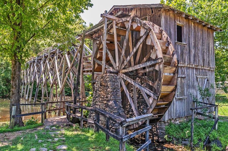 Waterwheel and Bridge royalty free stock photo