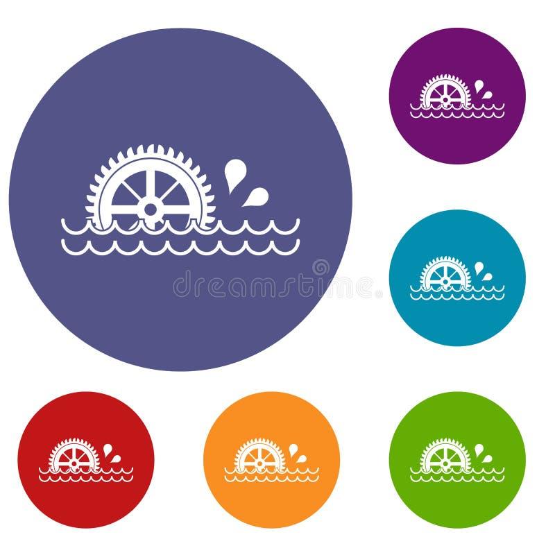 Free Waterwheel Icons Set Stock Image - 96467221
