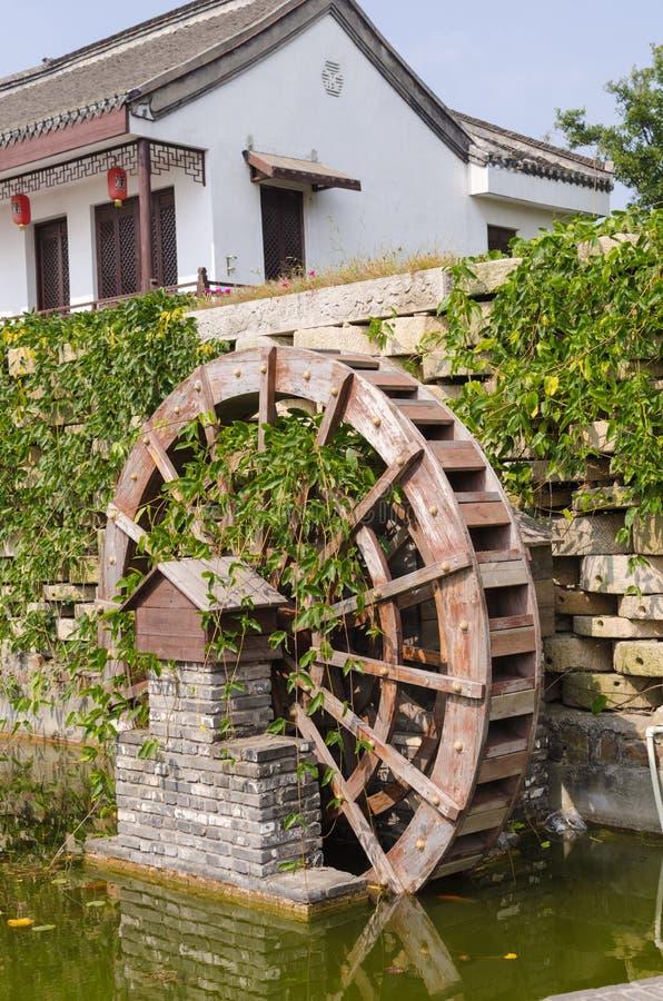 Waterwheel. Noon in the courtyard of a small waterwheel landscape stock image