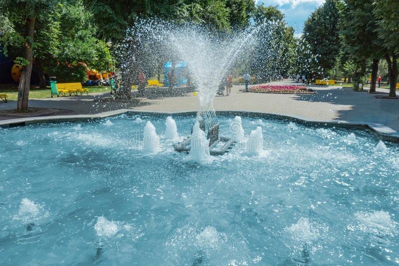 Waterworks fountain with water sprays and geysers in park or garden. Summer day time freshness and relax concept. Blue aqua pool royalty free stock images