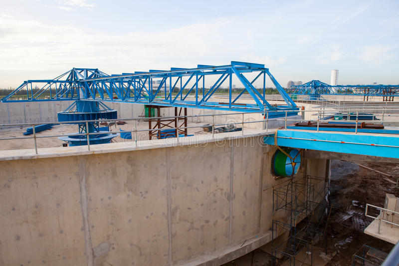 Waterworks production tank in construction at water suppies industry estate site stock photo